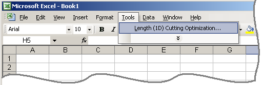 How to start 1DCutX in Excel 2003.